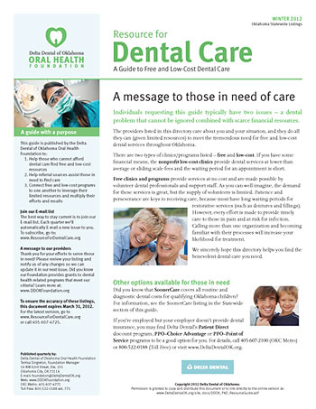 free and low-cost dental care guide